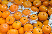 Orange Fruits Washing In A Sink Focused On Right Side.