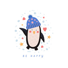 Funny Cartoon Penguin In A Knitted Hat. Happy Winter Holidays And Holidays. It Can Be Used For Seasonal Cards, Banners, Flyers. Christmas Holidays. Vector Illustration.