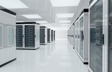 White Servers Center Room With...