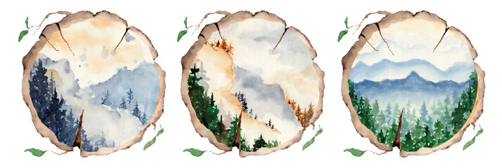 watercolor landscape with pine and fir trees and mountains abstract nature background