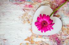 Pink Gerbera On A Background O...