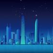 Night city with neon buildings cartoon illustration