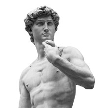 Statue Of A Famous Statue By Michelangelo - David From Florence, Isolated On White