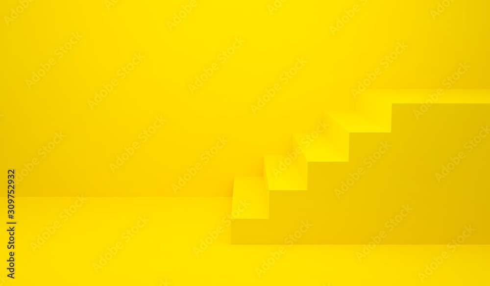 Fototapeta Yellow stairs up and wall background for banner and product presentation. 3D Rendering design. Side view of stairway geometrical abstract. Staircase interior in modern. Minimal scene idea concept.