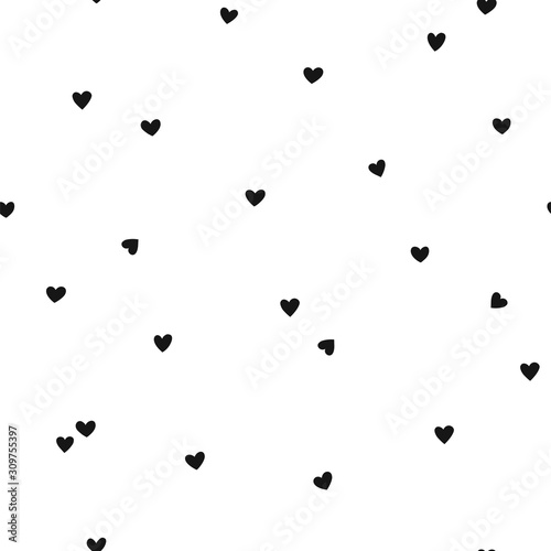 fototapeta na ścianę Vector seamless pattern with little hearts. Creative scandinavian childish background for Valentine's Day. Black and white hearty backdrop for wrapping paper, textile, fabric, card making.