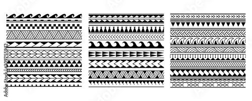 Set of vector ethnic seamless pattern in maori tattoo style Canvas Print