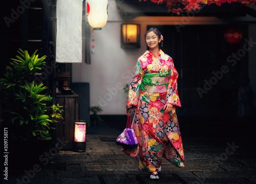 Canvas-taulu Japannese girl with kimono dress