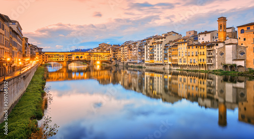 Arno river in Florence Old town, Italy Wallpaper Mural