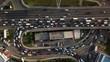 drones eye view traffic jam top view