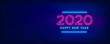 Happy New Year 2020 Neon Backg...