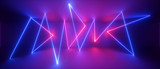 3d abstract neon geometric background, chaotic lines, trajectory path glowing in ultraviolet light, violet blue red laser rays
