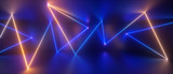 3d abstract blue yellow neon geometric background, chaotic lines, trajectory path glowing in ultraviolet light, laser rays