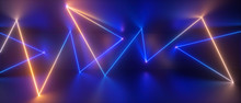 3d Abstract Blue Yellow Neon G...