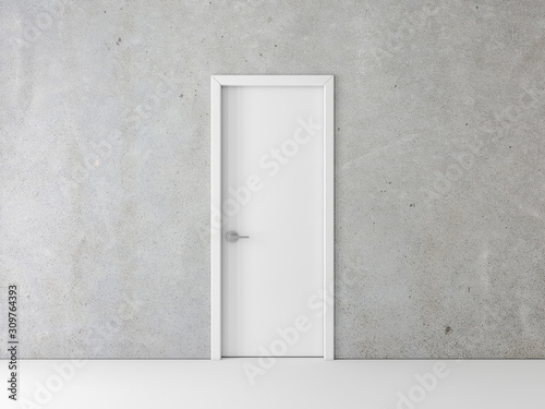 Closed White Door on concrete Wall Canvas Print