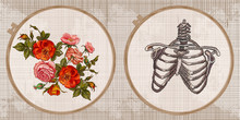 Embroidery Collection. Roses Flowers And Rib Cage. Template Tambour Frame With A Canvas, Elements From Stitches. Art For Clothes