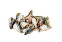 Garbage: Raw European Smelt Fish Heads Isolated On White Background