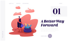 Gardening, Nature Protection Website Landing Page. Woman Watering Flower Planted Into Old Used Tyres On Street. People Reuse Tires To Reduce Pollution Web Page Banner. Cartoon Flat Vector Illustration