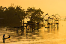 Fishing Of Life Along The Rakpra Place, Phatthalung Province, South Of Thailand.