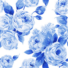 Combination Of Watercolor Flower Elements
