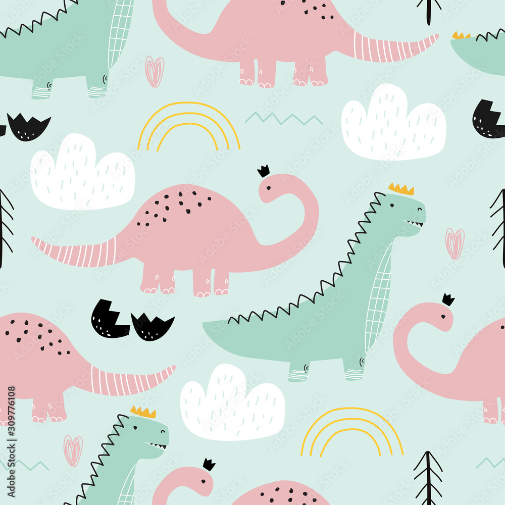 Seamless pattern with dinosaurs on colored background. Vector illustration for printing on fabric, postcard, wrapping paper, gift products, Wallpaper, clothing. Cute baby background.