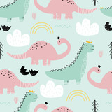 Fototapeta Dinusie - Seamless pattern with dinosaurs on colored background. Vector illustration for printing on fabric, postcard, wrapping paper, gift products, Wallpaper, clothing. Cute baby background.