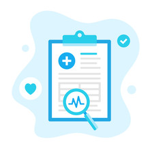 Clipboard With Medical Document And Magnifying Glass. Modern Flat Design. Abstract Healthcare Vector Illustration