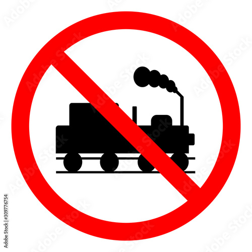 Photo Danger Beware Of Trains Symbol Sign, Vector Illustration, Isolate On White Background, Label