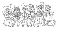 Children In Carnival Costumes Wizard, Egyptian Queen, Squirrel, Lumberjack, Puss In Boots And Shepherdess Characters Outlined For Coloring Page