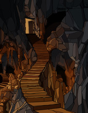 Cartoon Long Stone Staircase D...