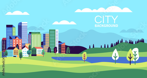 Fototapeta Simple landscape with buildings. Urban skyline residential houses, green trees and hill, summer cityscape banner, websites vector background obraz