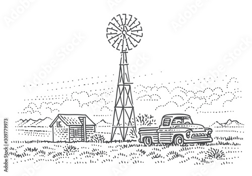Old pick up truck in ranch land sketch line illustration Wallpaper Mural