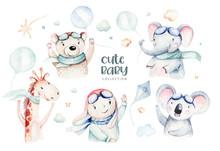 Watercolor Set Baby Cartoon Cu...