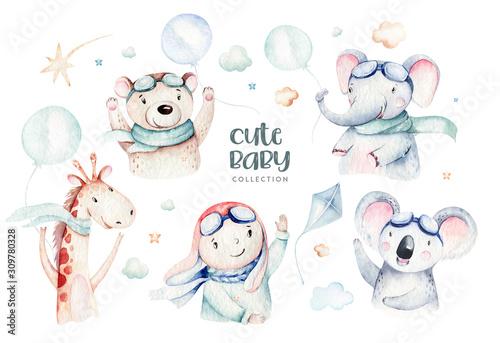 akwarela-zestaw-cute-cartoon-charakter-dziecka