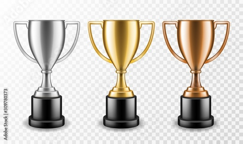 Fotografie, Tablou Gold silver and bronze winners cups