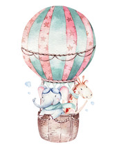Watercolor Balloon Set Baby Ca...