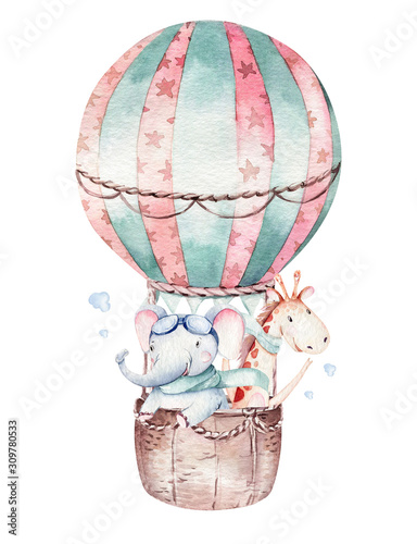 Fotomural Watercolor balloon set baby cartoon cute pilot aviation illustration