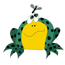Illustration Of A Fat Green Frog With Black Spots And Fly