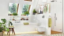Luxury Bathroom With Bathtub And Shower