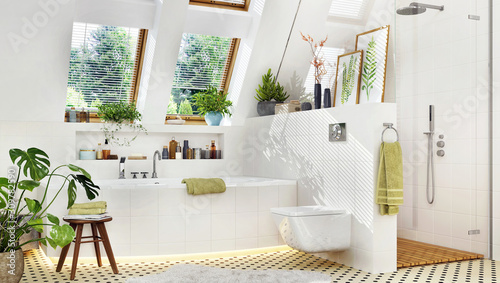 Luxury bathroom with bathtub and shower Fototapeta