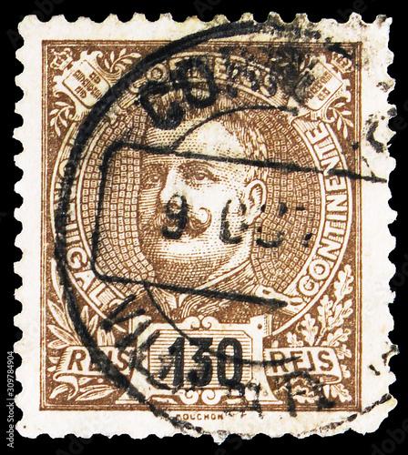 Fotografia  Postage stamp printed in Portugal shows King Carlos I, serie, 130 Portuguese (ol