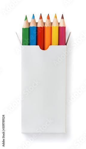 Obraz na płótnie Front view of blank box with color pencils set