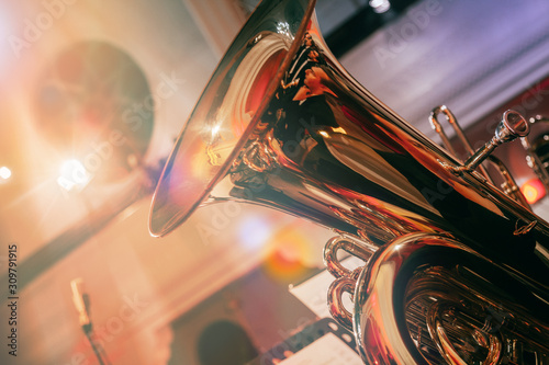 Canvastavla Symphony orchestra on stage, playing the tuba