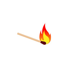 Burning Match Icon. Vector Illustration. Isolated.