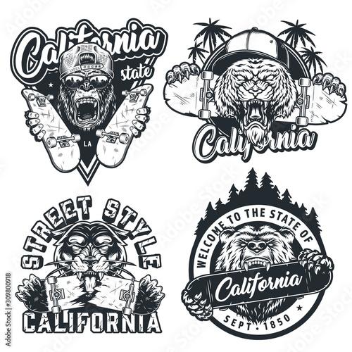 Vintage skateboarding monochrome labels