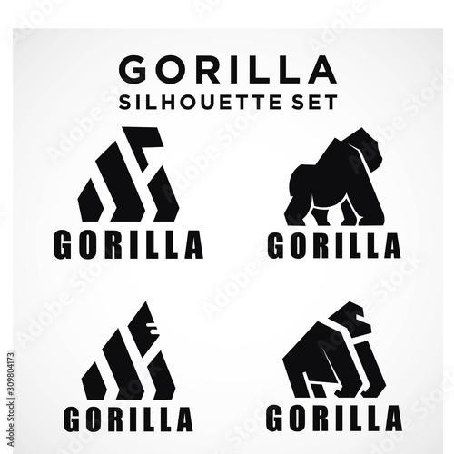 Minimalist design for gorillas. modern  simple Symbol silhouette Canvas Print