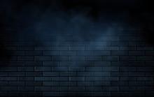 Empty Room, Brick Wall And Concrete Floor. Empty Building Scene.