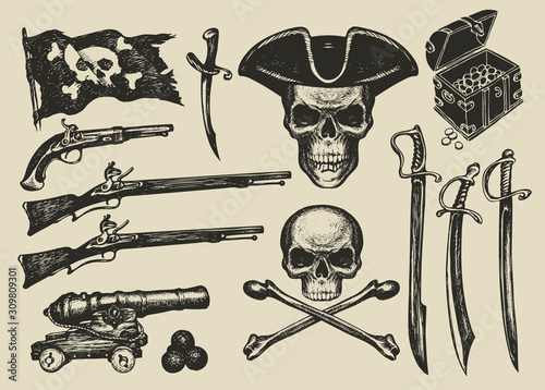 Photo Vector set of hand drawn illustrations on a pirate theme in vintage style