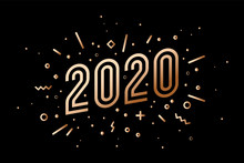 2020, Happy New Year, Gold. Gr...