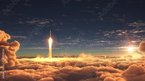Photo Rocket flies through the clouds at sunset