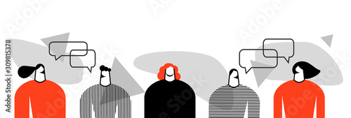 vector flat illustration of a group of people, friends, men and women, a series of talking people with chat and observation bubbles, illustration of loneliness, a distinguished person from the crowd